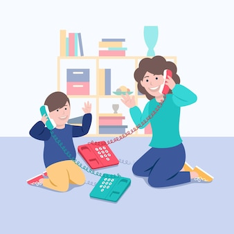 Familie genießt zeit zusammen mit telefonen
