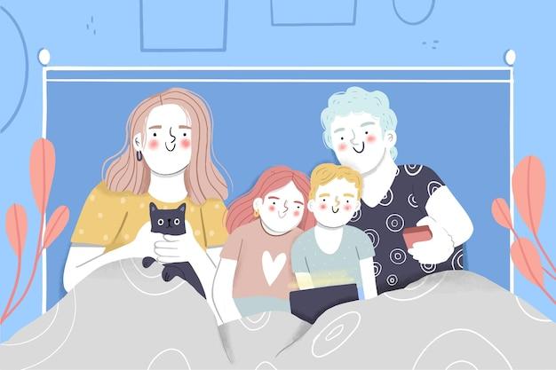 Familie genießt zeit zusammen