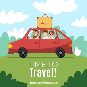 Familie im Auto reisen
