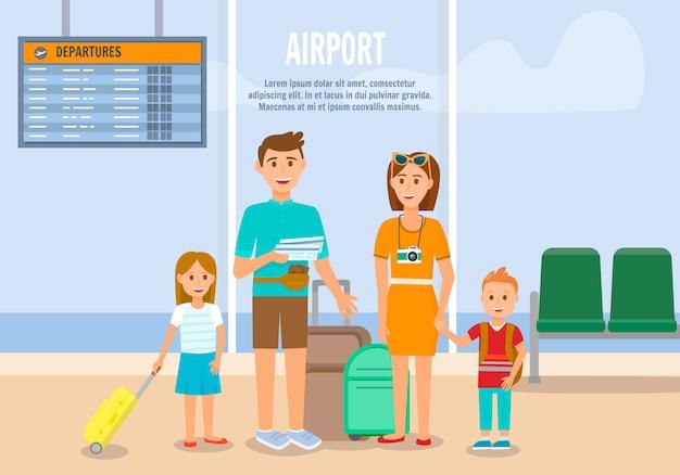 Familie im flughafen warten auf boarding mit dem flugzeug.