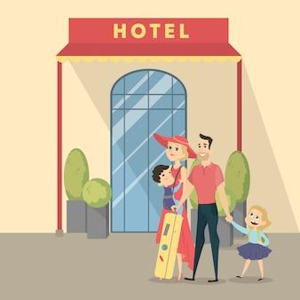 Familie im hotel. eltern mit kindern und gepäck.