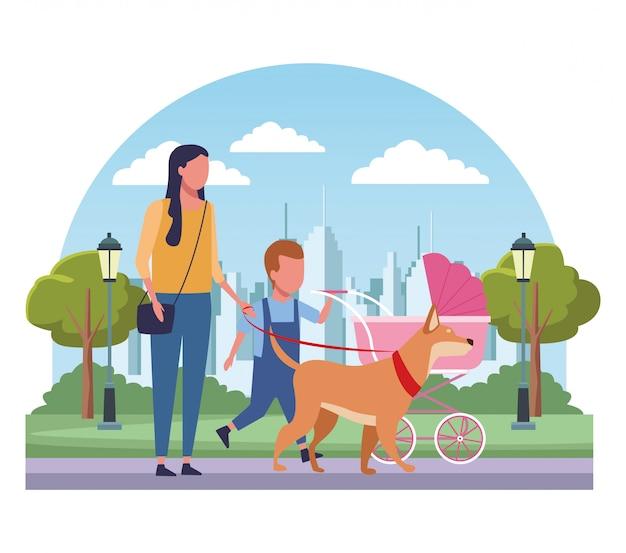 Familie im park cartoons