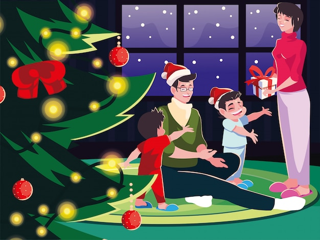 Familie im wohnzimmer mit weihnachtsdekoration, weihnachtsabendszene