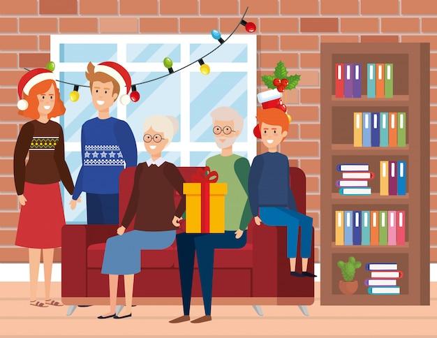 Familie im wohnzimmer mit weihnachtsdekoration
