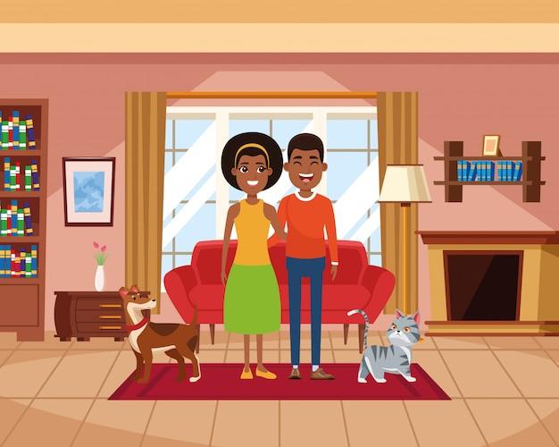 Familie in den häuslichen landschaftskarikaturen