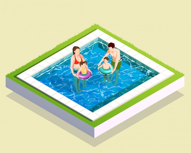 Familie in der badzusammensetzung