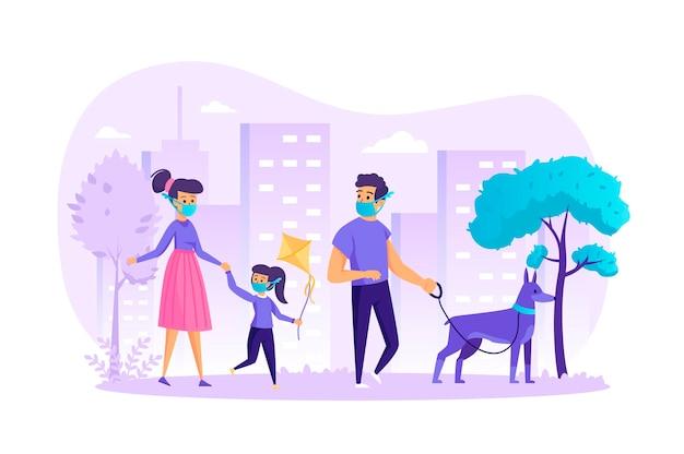 Familie in der medizinischen maske, die mit dem flachen entwurfskonzept des hundes mit den personencharaktereszene geht