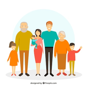 Familie in flacher Art