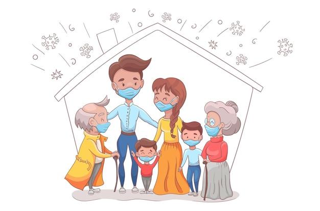 Familie in medizinischer gesichtsmaske
