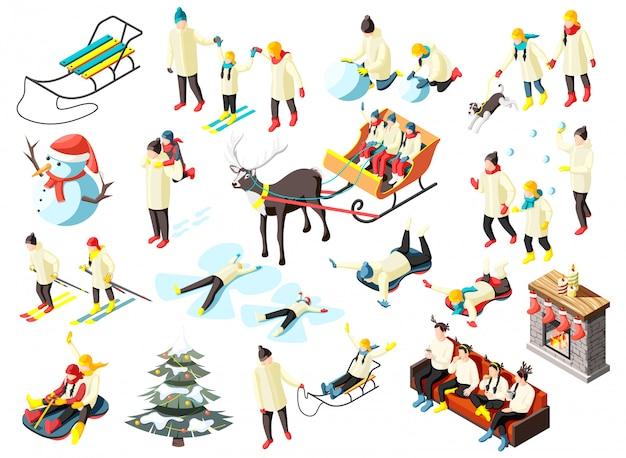 Familie in verschiedenen aktivitäten während der winterferien gesetzt von isometrischen symbolen isoliert