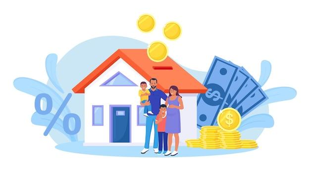 Familie kauft immobilien mit hypothek und zahlt kredit an die bank. die leute sparen geld und kaufen verschuldete häuser, investieren geld in immobilien. wohnungsbaudarlehen, miete. zuhause ist wie ein sparschwein
