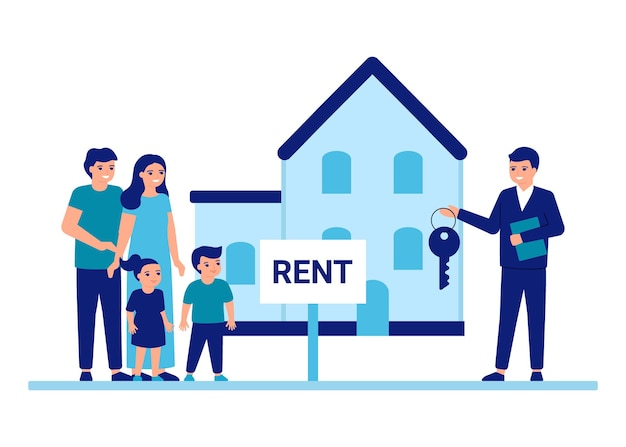 Familie kauft oder mietet ein haus mit hilfe eines immobilienmaklers hausmietberater umzug an einen neuen ort Premium Vektoren