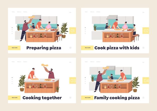 Familie kocht pizza zu hause. landing pages mit cartoon eltern und kindern