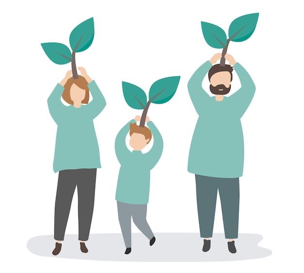 Familie kümmert sich um die umwelt