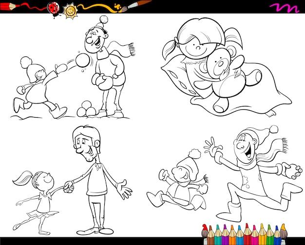 Familie malvorlagen cartoon-set