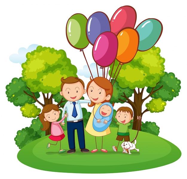 Familie mit drei kindern im park