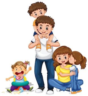 Familie mit eltern und drei kindern