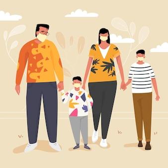 Familie mit eltern und kindern, die masken im freien tragen