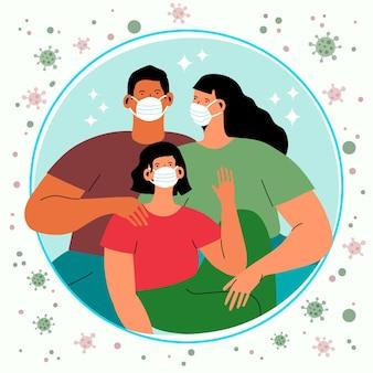 Familie mit gesichtsmasken