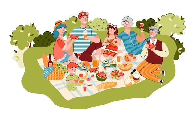 Familie mit großeltern, die picknickkarikatur haben