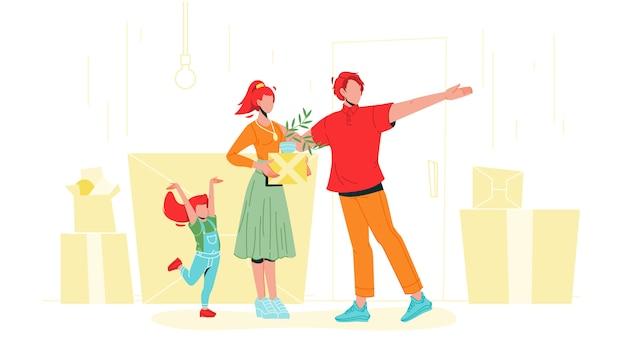 Familie mit kartonboxen, die im haus einziehen