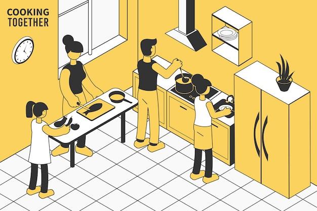 Familie mit kindern, die zusammen in der isometrischen küche das mittagessen kochen