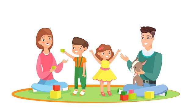 Familie mit kindern nach hause spielen auf dem teppich mit baby und kleines mädchen. eltern mit spielenden kindern