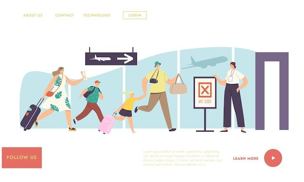 Familie mit kindern zu spät zum boarding flugzeug landing page template. besorgte menschen rennen mit tasche zu geschlossenen gates, verärgert über verpassten flug. charaktere in stresssituationen. cartoon-vektor-illustration