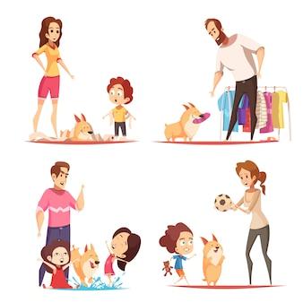 Familie mit lieblingswelpen während des spielers, illustration