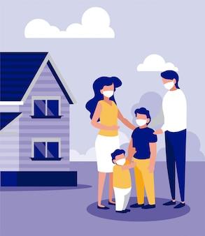 Familie mit masken außerhalb des hauses