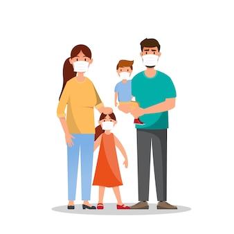 Familie mit masken. schmutzige umgebung durch staub. menschen tragen eine maske, die rauch und verschmutzungsnebel schützt. illustration zeichentrickfigur