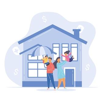 Familie mit regenschirm vor dem haus