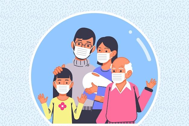Familie mit vor dem virus geschützten gesichtsmasken