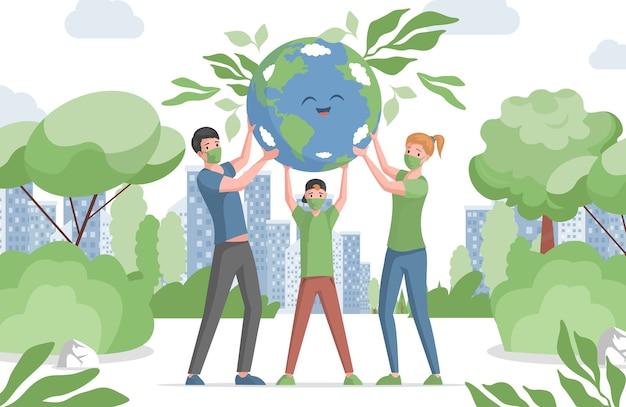Familie, mutter, vater und sohn in gesichtsmasken halten glücklich lächelnden planeten erde