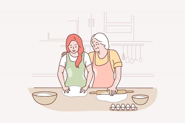 Familie, mutterschaft, kochen, erholung, freizeit, liebeskonzept