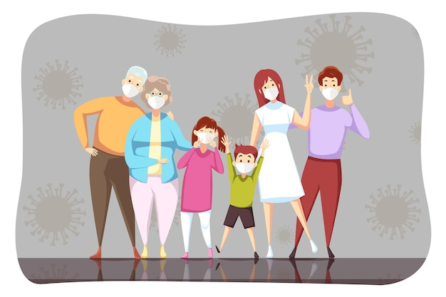 Familie opa großmutter vater mutter kinder sohn tochter stehen