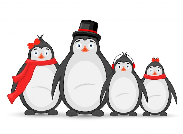 Familie polarpinguine. mama, papa, kinder im winter kopfhörer, mütze und schal. postkarte für das neue jahr und weihnachten. objekte auf weißem hintergrund. vorlage für text und glückwünsche.