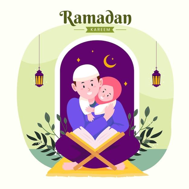 Familie ramadan kareem mubarak mit eltern und tochter, die koran während des fastens lesen,