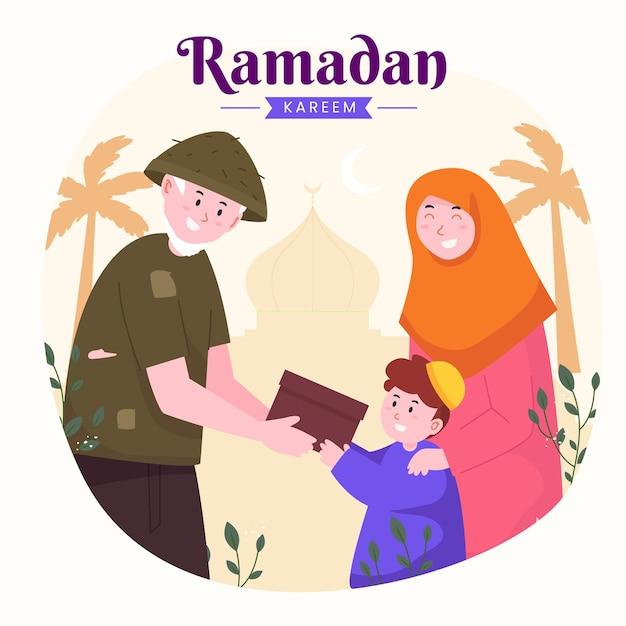 Familie ramadan kareem mubarak mit lehrendem sohn für das geben von essen oder geschenk an arme leute,