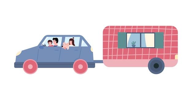 Familie reist im auto mit flacher vektorillustration des anhängers lokalisiert auf weiß