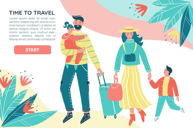 Familie reist zusammen mit gepäck. mutter, vater und kinder machen urlaub auf buntem vektorbanner. eltern mit kindern haben spaß zusammen.