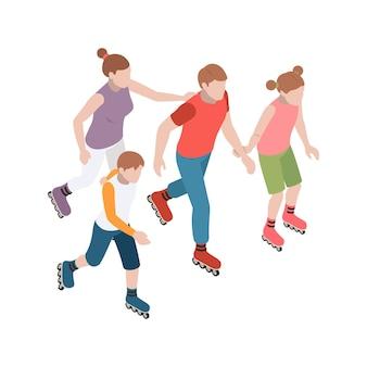 Familie rollschuhlaufen zusammen 3d isometrisch