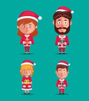 Familie trägt weihnachtskostüm, das geschenkbox-zeichensatz auf weihnachtszeitillustrationsvektor hält