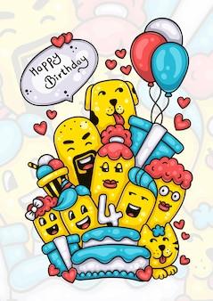 Familie und freunde wünschen dem handgezeichneten doodle-kunstwerk des babys alles gute zum vierten geburtstag