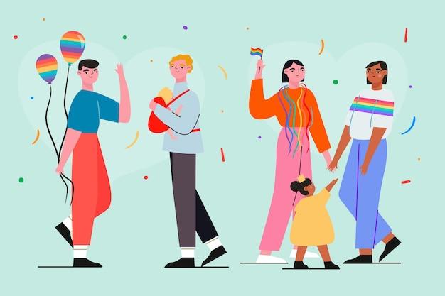 Familie und paar am stolz tag zusammen illustration
