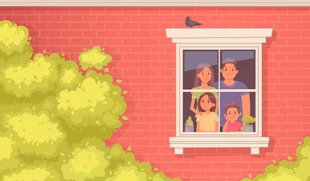 Familie unter quarantäne gestellt. mama, papa, tochter und sohn schauen traurig aus dem fenster des hauses. bleib zuhause