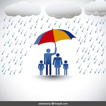 Familie unter regenschirm