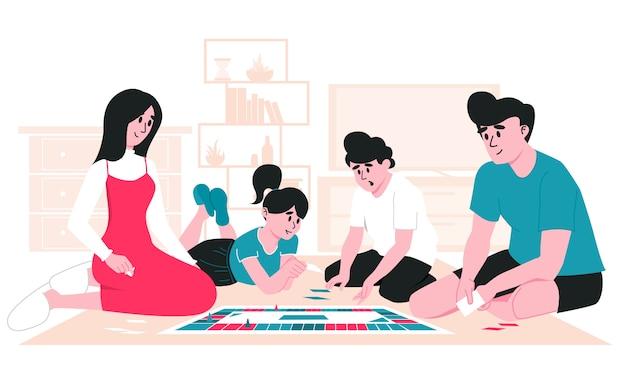 Familie verbringt ihre freizeit zusammen. mutter, vater, tochter und sohn spielen brettspiel auf dem boden im wohnzimmer. bleib zu hause mit kindern. elternschaft und kindertagesstätte in quarantänesperre.