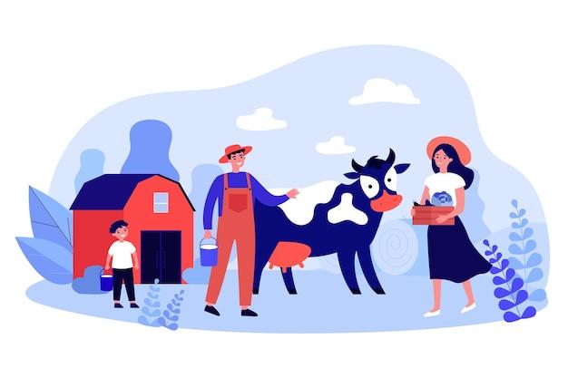 Familie von bauern und kuh auf rustikalem bauernhof. frau, die kasten mit flacher vektorillustration der ernte hält. bio-milchproduktion der familie, landwirtschaftskonzept für banner, website-design oder landing-webseite