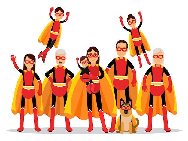 Familie von superhelden, großmutter, großvater, mutter, vater, kindern und hund in orangefarbenen umhängen illustration